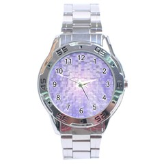 Purple Cubic Typography Stainless Steel Watch (men s) by TheZiNES
