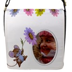 Little Flower Flap Closeure messenger Bag (small) - Flap Closure Messenger Bag (S)