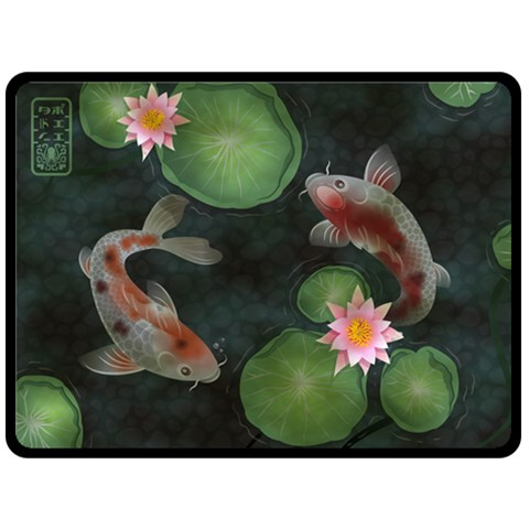 Koi Throw By Amelia K  Little   Fleece Blanket (large)   Tw0g9x049xsv   Www Artscow Com 80 x60 Blanket Front