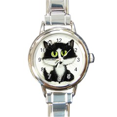 Tuxedo Cat Round Italian Charm Watch by AmyLynBihrle