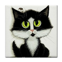Tuxedo Cat Tile Coaster by AmyLynBihrle