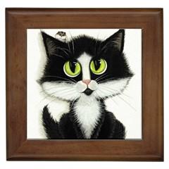 Tuxedo Cat By Bihrle Framed Ceramic Tile by AmyLynBihrle