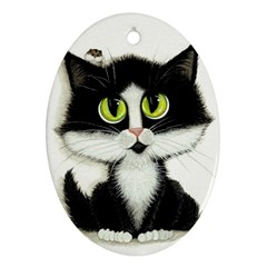 Tuxedo Cat By Bihrle Oval Ornament by AmyLynBihrle