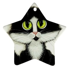 Tuxedo Cat By Bihrle Star Ornament by AmyLynBihrle