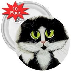 Tuxedo Cat By Bihrle 3  Button (10 Pack) by AmyLynBihrle
