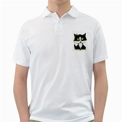 Tuxedo Cat By Bihrle Mens  Polo Shirt (white) by AmyLynBihrle
