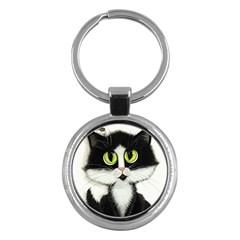 Tuxedo Cat By Bihrle Key Chain (round) by AmyLynBihrle