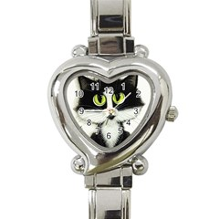 Tuxedo Cat By Bihrle Heart Italian Charm Watch  by AmyLynBihrle