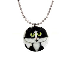 Tuxedo Cat By Bihrle Button Necklace by AmyLynBihrle