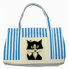 Tuxedo Cat By Bihrle Blue Striped Tote Bag