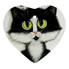 Tuxedo Cat By Bihrle Heart Ornament (two Sides)