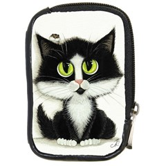 Tuxedo Cat By Bihrle Compact Camera Leather Case by AmyLynBihrle