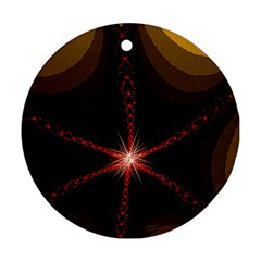 Bright Star Fractal Art Round Ornament (two Sides) by designsbyvee