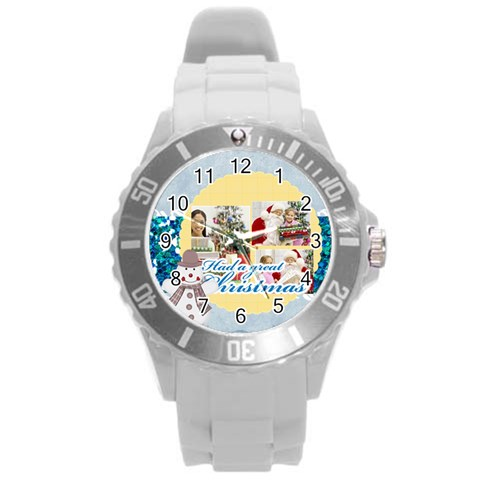 Xmas By Merry Christmas   Round Plastic Sport Watch (l)   Spdumocl6x02   Www Artscow Com Front