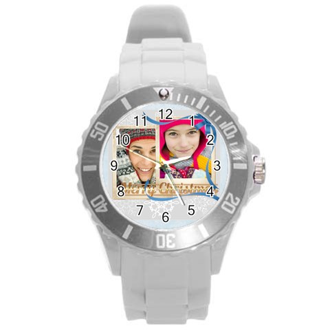 Xmas By Merry Christmas   Round Plastic Sport Watch (l)   302gy9c5op0i   Www Artscow Com Front