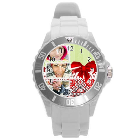 Xmas By Merry Christmas   Round Plastic Sport Watch (l)   8fnqt00ewsut   Www Artscow Com Front