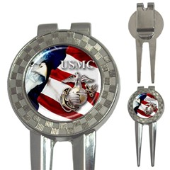 USMC Marine Corps Flag and Eagle 3-in-1 Golf Divot by DesignMonaco