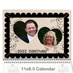 2015 Twin Hearts Wedding Celebration Calendar  - Wall Calendar 11  x 8.5  (12-Months)