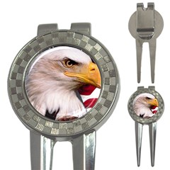 American Flag and Bald Eagle Head 3-in-1 Golf Divot by DesignMonaco