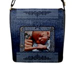 Denim Look Large Flap Closure Messenger Bag - Flap Closure Messenger Bag (Large)
