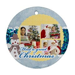 Christmas By Merry Christmas   Round Ornament (two Sides)   Y9g7nrtib1db   Www Artscow Com Front