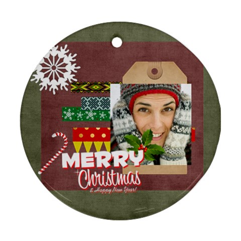 Christmas By Merry Christmas   Ornament (round)   574xj2nj5jzw   Www Artscow Com Front
