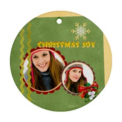 Christmas By Merry Christmas   Round Ornament (two Sides)   Ptnu2qqzt7cw   Www Artscow Com Back