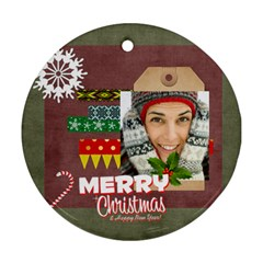 Christmas By Merry Christmas   Round Ornament (two Sides)   G6k2quyy36zs   Www Artscow Com Front