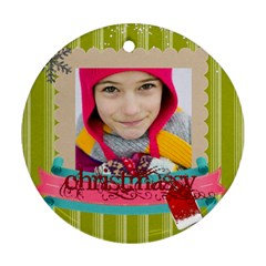Christmas By Merry Christmas   Round Ornament (two Sides)   2g9zc6o57l5n   Www Artscow Com Back