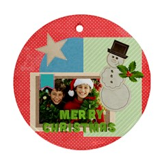Christmas By Merry Christmas   Round Ornament (two Sides)   5enlkd04owro   Www Artscow Com Back
