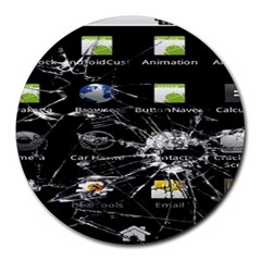 Crack Screen 8  Mouse Pad (round) by Contest1624092