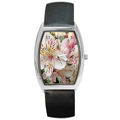 Flower Alstromeria Tonneau Leather Watch by ADIStyle