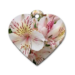 Flower Alstromeria Dog Tag Heart (two Sided) by ADIStyle