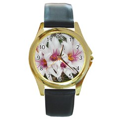 Bloom Cactus  Round Metal Watch (gold Rim)  by ADIStyle