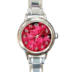 Red Autumn Round Italian Charm Watch by ADIStyle