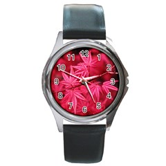 Red Autumn Round Metal Watch (silver Rim) by ADIStyle