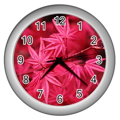 Red Autumn Wall Clock (silver) by ADIStyle