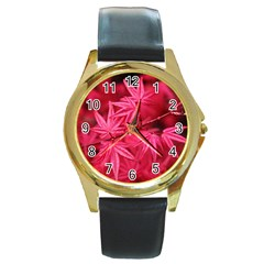 Red Autumn Round Metal Watch (gold Rim)  by ADIStyle