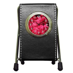 Red Autumn Stationery Holder Clock