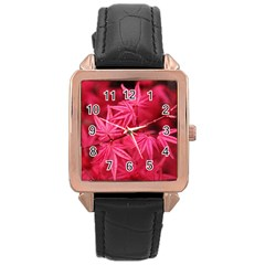 Red Autumn Rose Gold Leather Watch  by ADIStyle