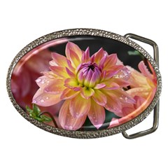 Dahlia Garden  Belt Buckle (oval)