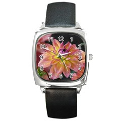 Dahlia Garden  Square Leather Watch by ADIStyle