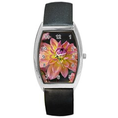 Dahlia Garden  Tonneau Leather Watch by ADIStyle