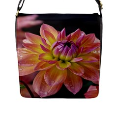 Dahlia Garden  Flap Closure Messenger Bag (large) by ADIStyle