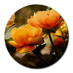 Flowers Butterfly 8  Mouse Pad (round) by ADIStyle