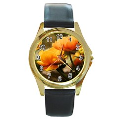 Flowers Butterfly Round Metal Watch (gold Rim)  by ADIStyle