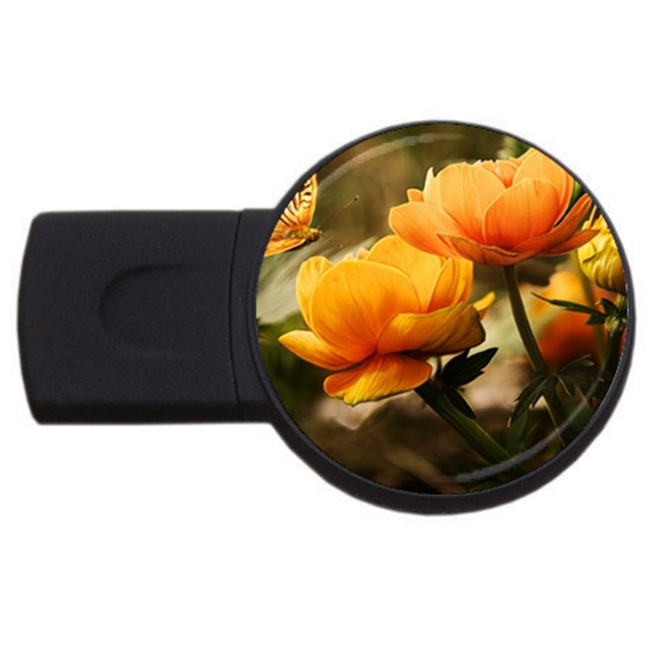 Flowers Butterfly 2GB USB Flash Drive (Round)