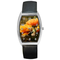 Flowers Butterfly Tonneau Leather Watch by ADIStyle