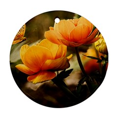 Flowers Butterfly Round Ornament (two Sides) by ADIStyle