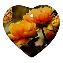 Flowers Butterfly Heart Ornament (two Sides) by ADIStyle